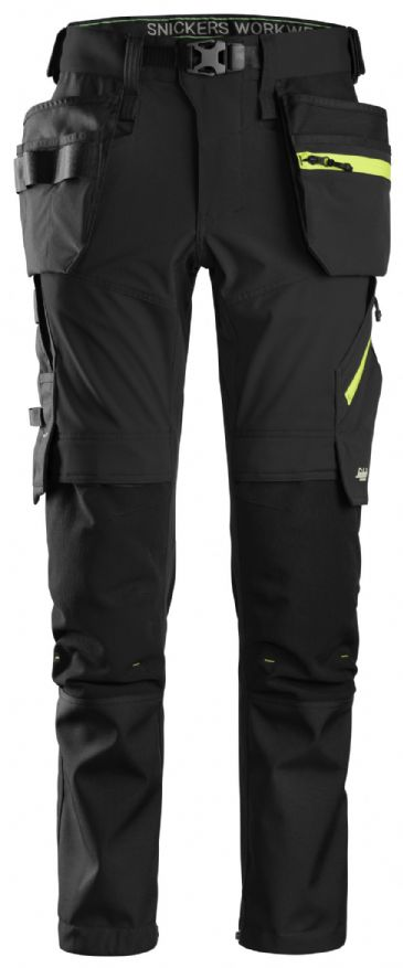 Snickers 6940 FlexiWork Softshell Stretch Work Trousers Holster Pockets (Black/Neon Yellow)